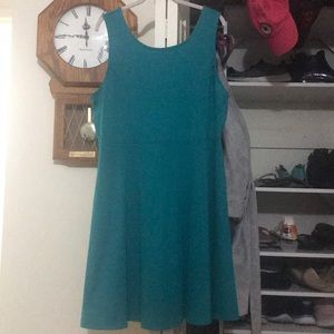 solid teal scoopneck sleeveless dress
